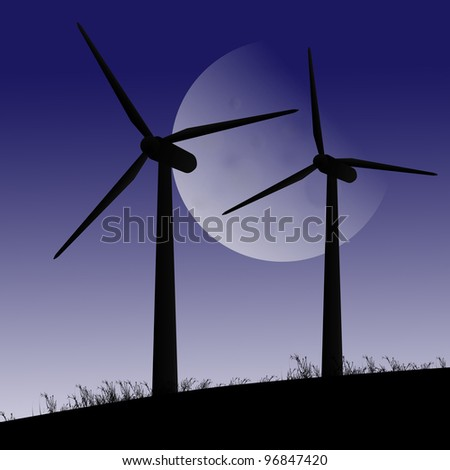 Illustration depicting two silhouetted wind turbines against twilight sky and large moon.