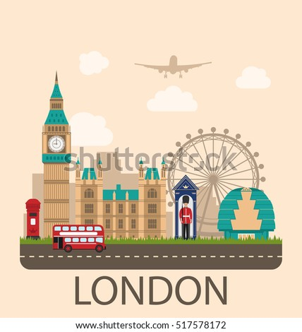 Illustration Design Poster for Travel of England. Urban Background. Concept of Travel and Tourism Banner. Famous Landmarks. Vintage Style -