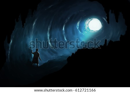 Stock Photo Illustration digital art painting, man walk in deep cave seeing glowing light at the exit, represent to proverb, there is a light at the end of the tunnel.
