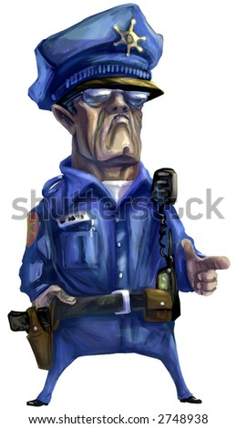 Illustration: Digital Painting emulating oil paint, of a mean police man.