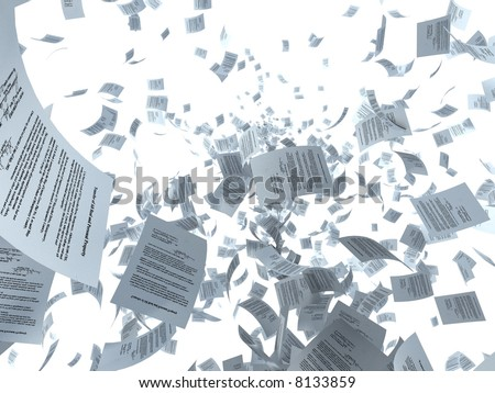 Illustration. Documents and sheets of paper flying