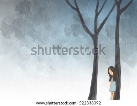 illustration drawing of lonely girl in jungle lying on tree trunks. Idea of quiet, mystery, sad, lost,miserable, forest, night, outdoor, environment design template wallpaper background