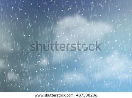 illustration drawing of view from window. Raining day with water drops on window pane. Idea of cold, wet, weather, storm, environment. Graphic template wallpaper design