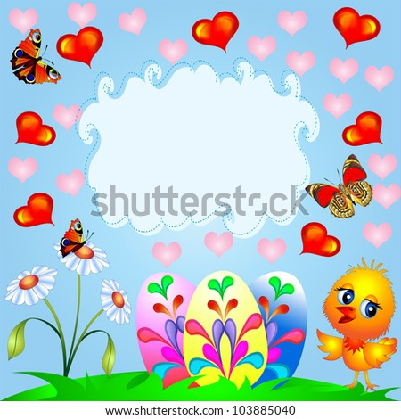 illustration easter background with egg and amusing chicken