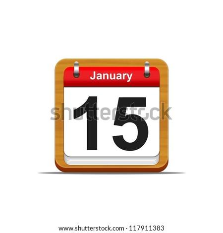 Illustration elegant wooden calendar on white background.