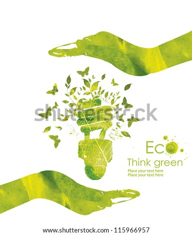 Illustration environmentally friendly planet.Energy saving eco lamp,from watercolor  hand drawn stains,isolated on a white background. Think Green. Ecology Concept