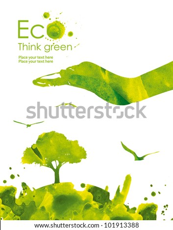 Illustration environmentally friendly planet from watercolor stains,isolated on a white background Think Green. Ecology Concept.