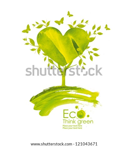 Illustration environmentally friendly planet from watercolor stains,isolated on a white background.. Green tree bloom with love.  Think Green. Ecology Concept.