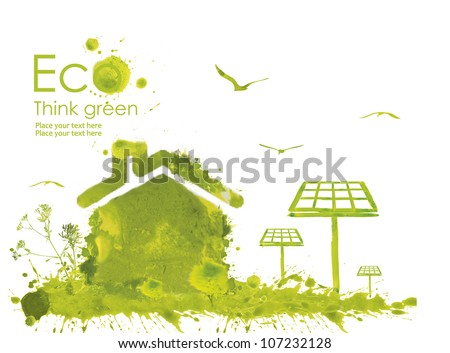 Illustration environmentally friendly planet. Green house and solar panels from watercolor stains,isolated on a white background. Think Green. Ecology Concept.