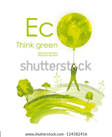 Illustration environmentally friendly planet.Green landscape, planet and wind-turbine, hand drawn from watercolor stains, isolated on a white background. Think Green. Eco Concept.