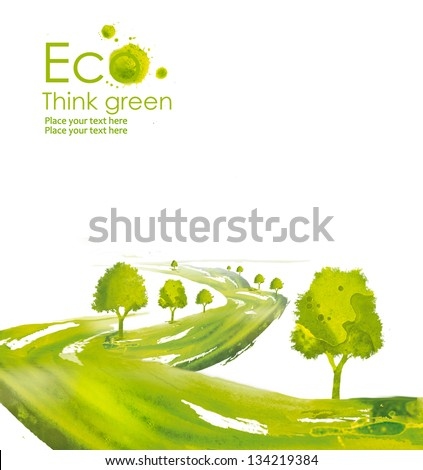 Illustration environmentally friendly planet. Green tree along the road planting from watercolor stains,isolated on a white background. Think Green. Ecology Concept.