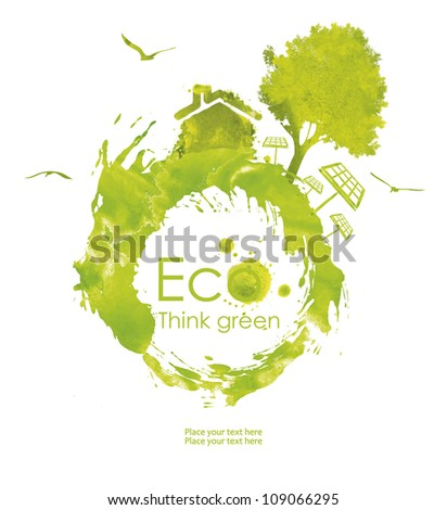 Illustration environmentally friendly planet. Green tree and house from watercolor stains,isolated on a white background. Think Green. Ecology Concept. forest