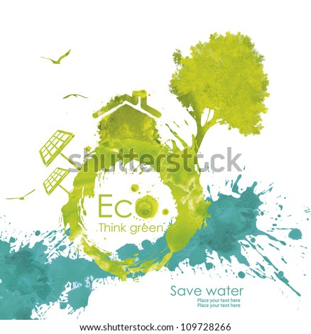 Illustration environmentally friendly planet. Green tree and house from watercolor stains,isolated on a white background. Think Green. Ecology Concept.