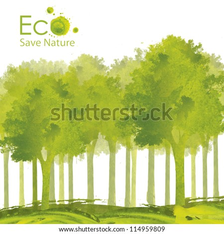 Illustration environmentally friendly planet. Green tree planting or deciduous forest on it from watercolor stains,isolated on a white background. Think Green. Ecology Concept.