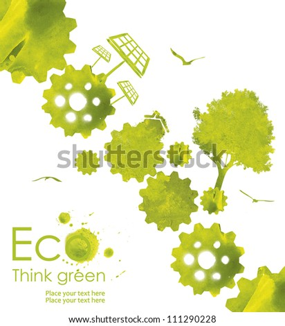 Illustration environmentally friendly planet. Green  trees and solar panel,, hand drawn from watercolor stains,isolated on a white background. Think Green. Ecology Concept.