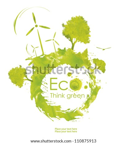 Illustration environmentally friendly planet. Green trees and  wind-turbine, hand drawn from watercolor stains,isolated on a white background. Think Green. Ecology Concept. forest