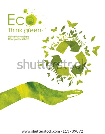 Illustration environmentally friendly planet. Hand points to the eco sign,  from watercolor stains,isolated on a white background. Think Green. Ecology Concept.