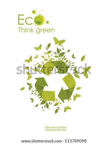Illustration environmentally friendly planet. hand pointsto the eco sign, from watercolor stains,isolated on a white background. Think Green. Ecology Concept.