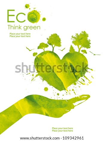 Illustration environmentally friendly planet Heart of our planet and plant on it from watercolor stains isolated on a white background Think Green Ecology Concept
