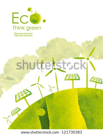 Illustration environmentally friendly planet. Solar panel and wind-turbine, hand drawn from watercolor stains, isolated on a white background. Think Green. Eco Concept.