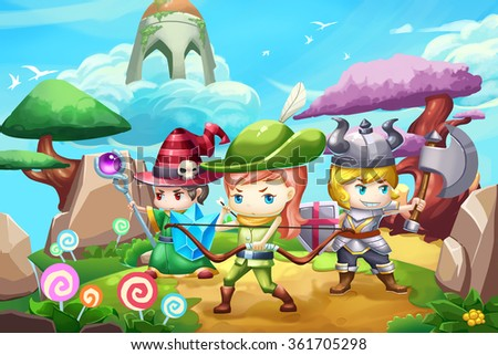 Stock Photo Illustration: Fantastic Land With Three Little Heros. Realistic Fantastic Cartoon Style Artwork Scene, Wallpaper, Game Story Background, Card Design