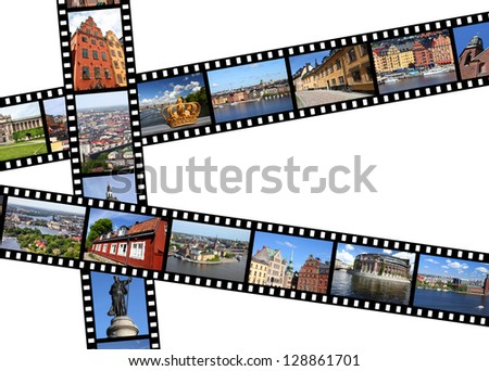 Illustration - film strips with travel memories. Stockholm, Sweden. All photos taken by me, available also separately.