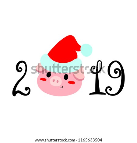 Picnetz Illustration Flat Pig The Sign Of New Year 2019 And