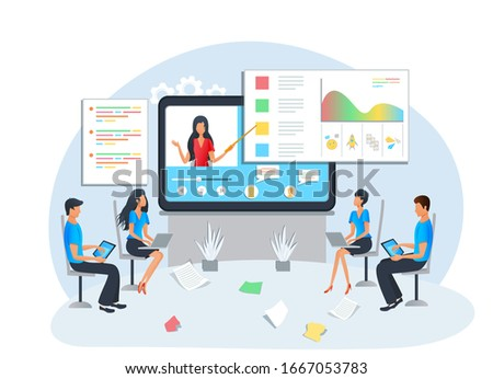 Illustration, flat style - online education, business training, workshop, presentation - training of office staff, students watching video tutorial, webinar, podcast. Teacher on computer screen