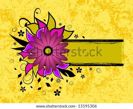 illustration - flowers and leaves arranged around a grunge frame ready for your text
