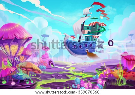 stock photo illustration flying to a mystery wonderland realistic fantastic cartoon style artwork scene 359070560 - Каталог — Фотообои «Для детской»