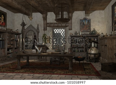 Illustration fo an Alchemist's study with books, potions and instruments, 3d digitally rendered illustration