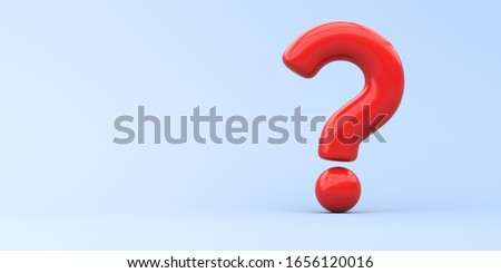Illustration for advertising. Red question mark on a blue background. 3d rendering illustration.