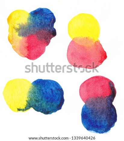 Illustration for basics of color theory. Image of blending basic colors (red, yellow, blue)