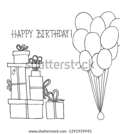 illustration for children happy Birthday presents  presents box