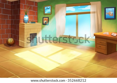 Illustration For Children: Little Kid(boy or girl)'s Room. Realistic Fantastic Cartoon Style Artwork / Story / Scene / Wallpaper / Background / Card Design