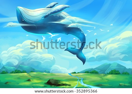 Illustration For Children: The Huge Dancing Whale in the Clear Blue Sky. Realistic Fantastic Cartoon Style Artwork / Story / Scene / Wallpaper / Background / Card Design