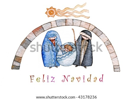 illustration for Christmas whit manger end star comet with caption in Spanish