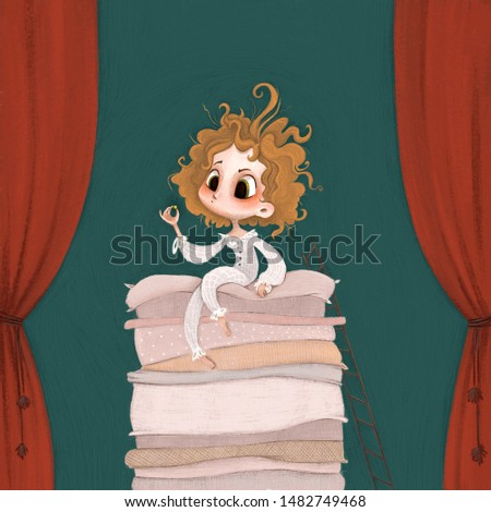 Illustration for cover, picture book, fairy tale about the princess and the pea Stock fotó ©