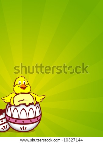 illustration for easter with egg and chicken