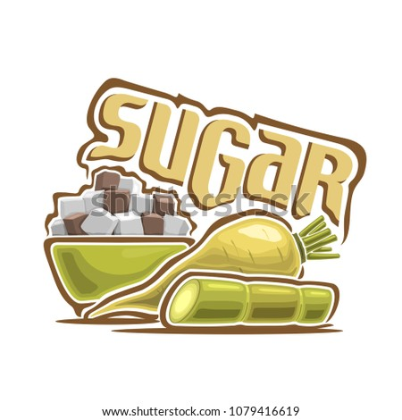 Illustration for logo of sugar, still life composition, consisting of green bowl with white and brown cubes of beet and cane sugar, beet root and stalk on white background.