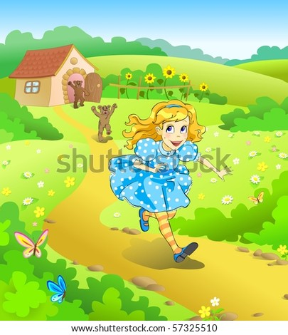 Stock Photo Illustration for tale Three bears. Little girl run away from angry bears.
