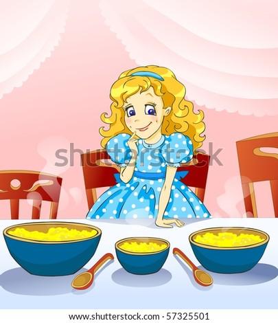 Illustration for tale Three bears. Little girl with three plateful of kasha.