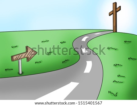 illustration format. Can be used with various designs. The path to God for religion, belief, and religion.