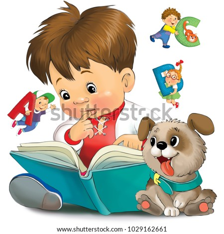 Illustration. Funny cartoon of a little boy is reading a book. From the book characters fly with letters. A puppy is sitting next to him.