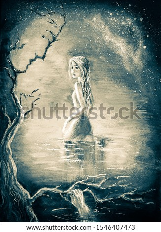 illustration girl in a mysterious forest in a lake at night with monsters