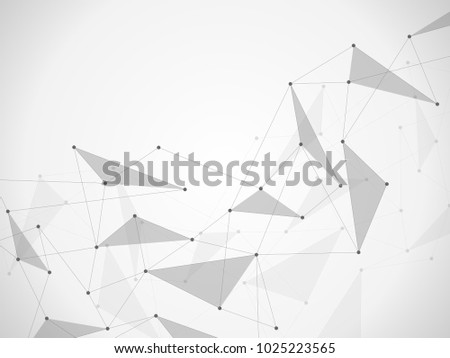 Illustration, global creative social network. Abstract polygonal background with lines and dots #1025223565