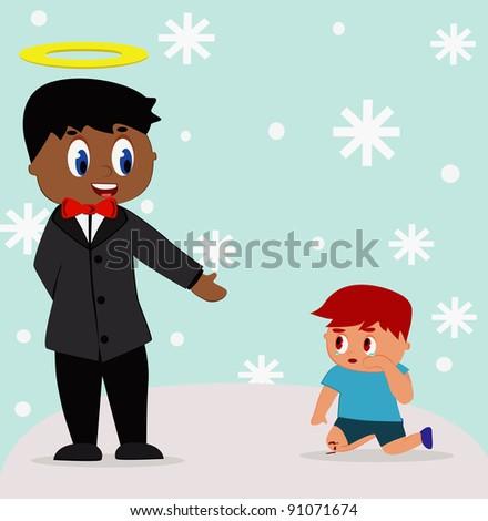 illustration - God.God help the child fall.