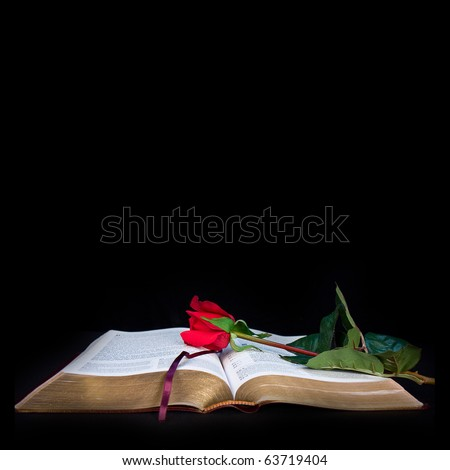 Illustration/graphic/photo of bible with red rose