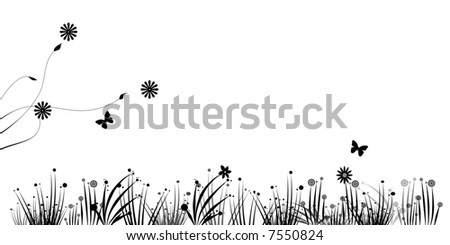Illustration, Grass abstract and flowers and butterfly
