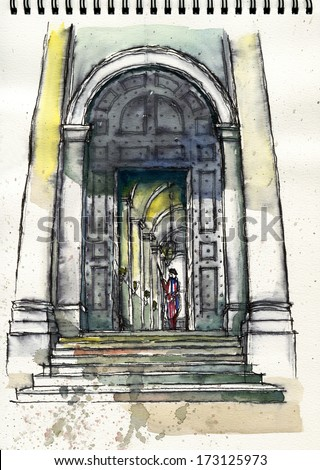illustration hand drawing of St. Peter Basilica, Vatican on sketch book #173125973